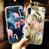 火烈鸟苹果6splus手机壳女款iPhonex浮雕磨砂7/8plus软硅胶6s全包防摔七7p磨砂浮雕六6P中国风唯美个