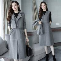 毛呢连衣裙女两件套2018秋冬季新款韩版气质中长款小香风时尚套装