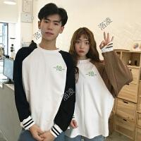 学生拼色T恤女长袖2018春装韩版bf宽松圆领套头情侣装上衣打底衫