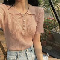蜜糖雨 港味chic韩国青春减龄学院风新款POLO领钉珠针织衫H