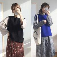 2018秋季韩版学院风无袖套头宽松毛衣马甲女式针织背心毛线坎肩 均码