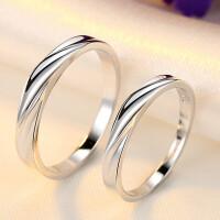 925银情侣戒指女开口对戒男士指环一对创意日韩版刻字送女友
