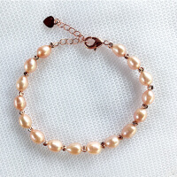淡水珍珠手链女迷你白色百搭韩国多层小米粒简约粉色女款