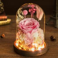 玫瑰花永生花发光永生花礼盒玻璃罩情人节礼物生日送女友保鲜蓝色妖姬玫瑰花干花束