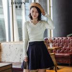 海贝 2017冬季新款女装上衣 V领镂空纯色长袖套头针织衫