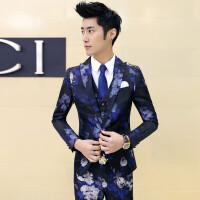 新品18春装新款男士韩版修身印花免烫西服套装潮流青年结婚礼服三