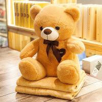 可爱泰迪熊汽车靠枕抱枕被子两用靠垫午休空调毯子办公室个性创意