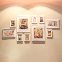 10框加宽欧式实木照片相片墙相框墙创意组合 大墙面客厅大框挂墙