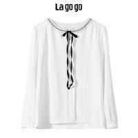 【清仓3折价89.7】Lagogo/拉谷谷2019年冬季新款长袖雪纺衫圆领上衣女HCSS519A13