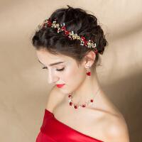 红色三件套结婚敬酒服发饰复古新娘饰品项链耳环头饰套装