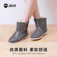 【低价秒杀】jm快乐玛丽秋冬时尚女鞋平底加绒保暖短筒靴女靴纯羊毛冬靴61790W