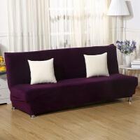 通用折叠沙发床套罩全包套四季沙发垫床笠式无扶手弹力沙发套 紫色 加厚绒布