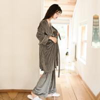 天鹅金丝绒性感吊带三件套装睡衣女士春夏韩版宽松睡袍家居服 均码