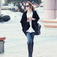【羊绒】针织外套女韩版秋季2018新款中长款黑色毛衣开衫斗篷外套