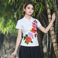 季新款民族风夏装女上衣中国风文艺复古刺绣立领盘扣短袖T恤