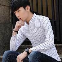 秋冬新款男士长袖衬衫韩版修身免烫条纹印花衬衣休闲男装寸衫