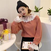 萌系小个子毛衣女蕾丝拼接假两件针织衫超仙气ins小清新大美同款