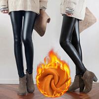 孕妇皮裤秋冬季加绒2018新款保暖托腹打底裤女潮妈外穿长裤子