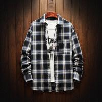 男士新款长袖衬衫格子韩版潮流帅气青少年学生休闲衬衣男寸衣