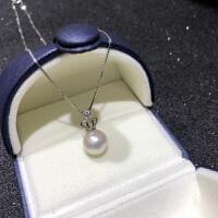 925纯银 皇冠款天然淡水单颗珍珠吊坠项链锁骨链母节送妈妈礼物 9.5-10mm 40cm