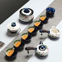 荷花功夫茶具套装办公室整套陶瓷窑变茶壶家用中式盖碗鱼茶杯