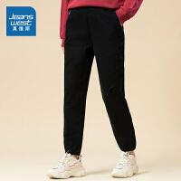 [到手价:63.9元]真维斯女装 秋季新品 弹力磨毛斜纹布修锥型长裤