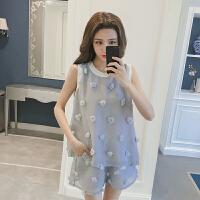 套装女夏2018新款韩版小香风洋气短裤时髦棉麻港味复古时尚两件套 灰蓝色