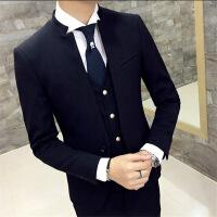 秋冬小西装男外套中山装青年立领西服韩版潮流发型师结婚礼服套装