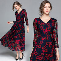 春季新款连衣裙打底裙女长款修身春秋长袖时尚印花蕾丝连衣裙