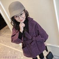 冬季女童呢子外套2018春季韩版小女孩童装中大童西装领加厚毛呢大衣秋冬新款 紫色