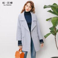 冬季韩版中长款毛呢外套女宽松森系呢子雾霾蓝羊毛大衣潮