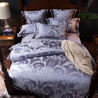 伊迪梦家纺 欧美式贡缎提花四件套六件套 全棉婚庆床上用品大被套大床单1.8/2m米双人床RQ7