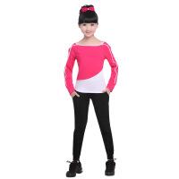 2019 儿童长袖瑜伽服女童跑步运动服套装 少儿健身服显瘦圆领舞蹈服