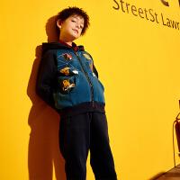 【2件3折到手价:134.7元】小虎宝儿男童秋装套装中大童2019新款洋气童装儿童开衫运动两件套