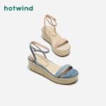热风女士潮流时尚凉鞋一字扣带坡跟凉鞋H59W9204