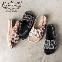 玛菲玛图2020外出魔术贴拖鞋女夏新款时尚外穿个性学生真皮凉拖鞋817-30W