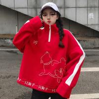2018春季女装韩版原宿风宽松卡通刺绣高领长袖卫衣bf学生女上衣潮