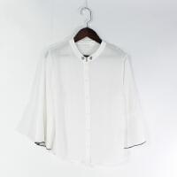 O07005精品女装新款单排扣显瘦薄款微透百搭女纯色百褶喇叭袖衬衫