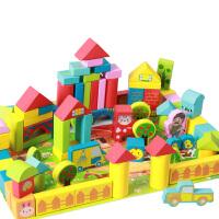 积木男孩女孩1-2-3-6周岁宝宝早教桶装木质积木制玩具