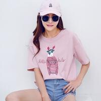 韩都衣舍2017韩版女夏装新宽松显瘦印花圆领短袖T恤
