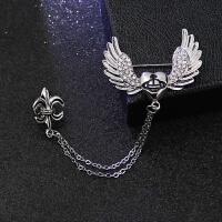 英伦风男士胸针 潮 金属链条皇冠 十字架 船舵西服胸针 别针 青色 银色爱心翅膀