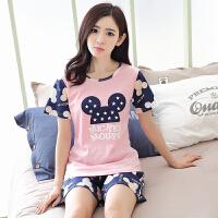 韩版女士纯棉睡衣夏季休闲加大码卡通薄款短袖短裤家居服两件套装