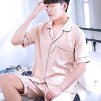 夏季睡衣男丝绸薄款开衫短袖男士家居服大码冰丝夏天套装春秋