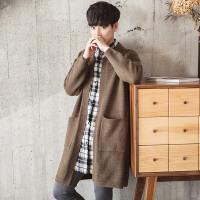 秋装新款针织衫男士开衫韩版潮流宽松毛衣外套中长款学生线衣