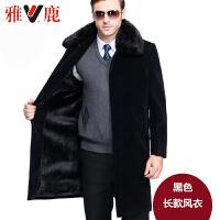 中老年羊绒大衣男加厚中长款过膝风衣中年羊毛呢子宽松外套