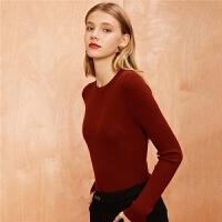 【3折到手价:48】【满399减80】黑色针织衫女士季新款韩版修身毛衫打底长袖内搭套头毛衣