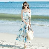 吊带沙滩裙长裙 夏新款2018潮 雪纺海边度假连衣裙 荷叶边 平边荷叶边3D