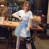 夏季女装韩版中长款圆领短袖t恤+钉珠不规则开叉半身牛仔裙两件套