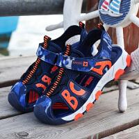 【儿童节大促-快抢券】男童包头凉鞋18新款夏季真皮透气防滑12中大童15小学生儿童沙滩鞋