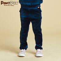 【2件2.5折 到手价:100】Pawinpaw宝英宝卡通小熊童装冬季款女童长裤绒面加绒儿童卫裤保暖